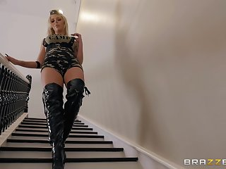 MILF blonde in boots Nina Elle ass fucked and gets cum in mouth