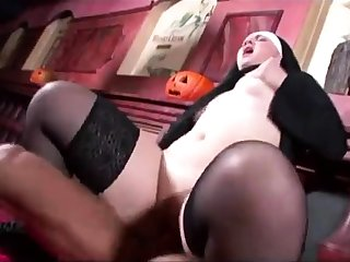 Blonde in uniform fucking in black stockings