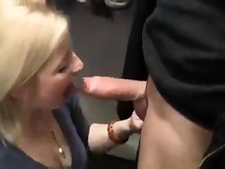 Hot Blonde Slut Blows In A Changing Room