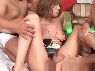 Uncensored Japanese Group Sex with hot tanned MILF