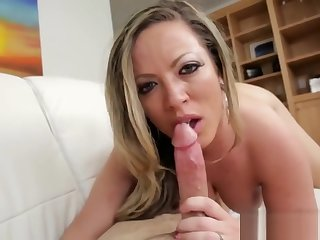 Busty Step Mommy Gives Head To Lucky Guy Cock