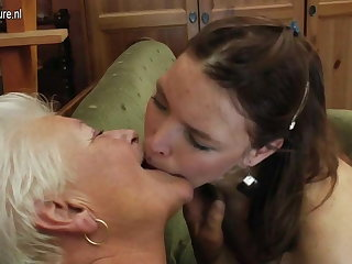 Granny licks ass and fucks young cute girls