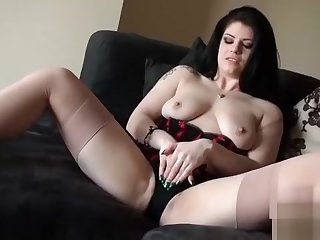 Sensual Brunette Babe Lucia With Natural Tits Masturbates