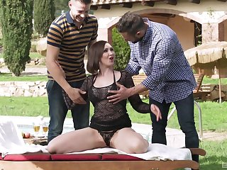 Mature brunette beauty Yasmin Scott pounded hard by two guys outdoors