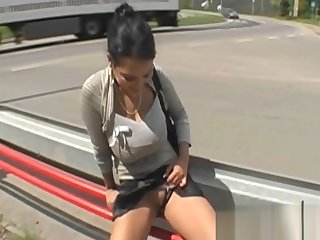 Busty MILF fucks for money in public roleplay