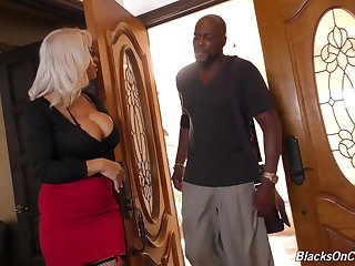 Alyssa Lynn is an accountant. She's been 1 for years. She's also been Lexington Steele's acquaintance for years, too. She usually works Lex's numbers, but today she'll be working on something for the very first time: Lex's 11-inch BIG BLACK COCK! Lex is u