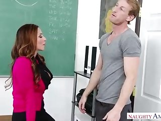 Warm dame is stretching her gams broad open and getting smashed highly rock hard, in the classroom