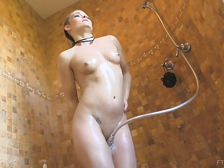 MILF blonde model Blaten takes a steaming shower and masturbates