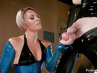 Mature in latex butt fuck bangs gagged male sub